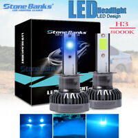 2x H3 Ice Blue COB LED Headlight 120W 26000LM 8000K High Low Beam Bulbs Car Lamp