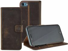 IPHONE 8 Leather Cover Bag Book Case Cover Wallet Case IN Vintage Coffee