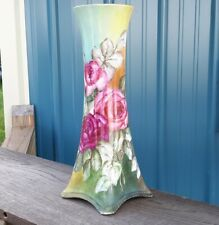 """Limoges Style Beautiful Large Vase 15"""" ~ Hand Painted Roses"""