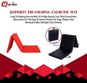 Q Sports Tri Folding 5cm Thick Exercise 6ft Mat With Carrying Handles Gymnastic