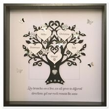 Personalised Family Tree Box Frame Wedding Gift Home Black/Silver Glitter Quote