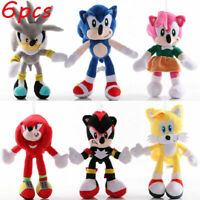 6PCS Sonic The Hedgehog Plush Knuckles Silver Tails Stuffed Teddy Bear Soft Toy