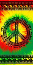 "Tie Dye Towel Tribal Rasta Love Peace Beach Pool Souvenir 30""x60"""