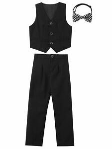 3PCS Kids Boys Formal Suit Vest and Pants Bow Tie for Wedding Gentleman Outfits