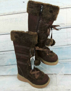 Winter Brown Girls Boots Falls Creek Lace Up Pom pom Kids Size 12