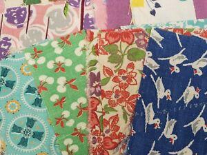 BEST 56 Vintage Novelty Feedsack Fabric Quilt 1940s Scraps Flour Sack Remnants