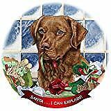 Chesapeake Bay Retriever Red Dog Porcelain Ornament 'Santa. I Can Explain!'