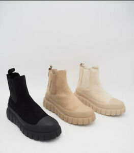 LADIES WOMENS FLAT CHUNKY PLATFORM SOLE CHELSEA SLIP ON ANKLE BOOTS SHOES
