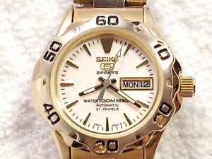 Seiko Automatic Day Date Gold Tone Watch Twenty One Jewels 100 Meters Women's