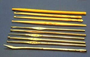 Vintage Crochet Hooks, Boye, S. Bates, Bone, Celluloid, Germany Lot 10 Patent #