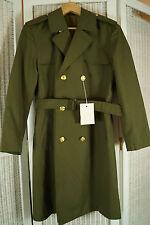 "Vintage Czechoslovak Military Trench Coat 46"" Unworn Greatcoat East Bloc Army"