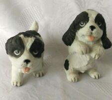 Two (2) Homeco Ceramic Black & White Cocker Spaniel Dogs ~ Pups Begging #1427