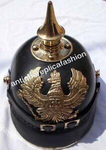 Leather Collectibles Pickelhaube Helmet Lock Spiked German Pure Leather Helmet