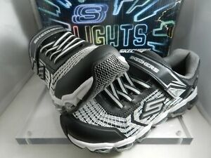 Kids' Skechers Turbo-Flash Radex Black/Silver 90596L/BKSL Shoes light up New S 4