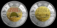 2019 D-Day Juno Beach 75th Anniversary Normandy $2 coins, 1 Colored, 1 Regular
