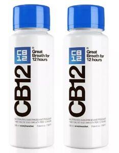 CB12 Mint / Menthol Mouthwash 250ml x 2 Pack Eliminates Bad Breath 12 Hours