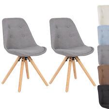 2er Set Esszimmerstühle Küchenstuhl Design Stuhl Leinen Holz BH54gr-2 Grau