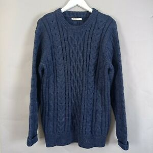 Woolovers Mens Aran Jumper Large Cable Knit Blue Crew Neck Sweater Country
