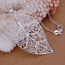 Silberkette mit Blatt Anhänger 925 Sterling Silber Halskette Kette Damen P79