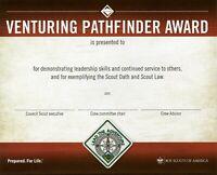 BOY SCOUT AMERICA VENTURE VENTURING PATHFINDER AWARD WALL CERTIFICATE OFFICIAL