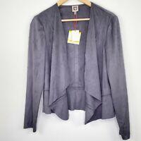 Anne Klein Suede Drape Front Peplum Jacket Black Forest Women's Size Medium