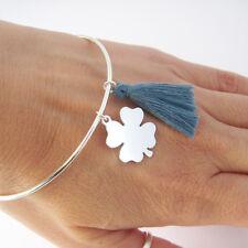 Bracelet jonc porte bonheur pompon et trèfle argent massif 925 BR90b