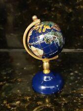 Rotating Globe Inlaid Lapis Semi Precious Gem Stones Brass Stand