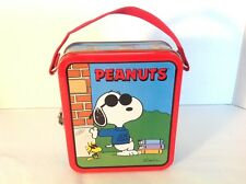 "PEANUTS ""Joe Cool"" - Small Minature 1999 Snoopy Collector Tin Lunch Box Pail"