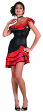 Ladies Spanish Style Dancing Fancy Dress Costume Black & Red Outfit UK 10-14