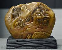 "6 ""vieux chinois Shoushan pierre sculpté Maitreya Bouddha Arhat Sculpture sceau"