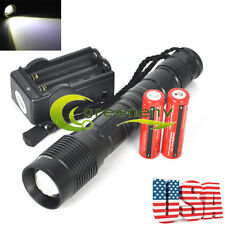 CREE 4000LM T6 XM-L LED Flashlight Torch Light + 2X 18650 Battery + Dual Charger