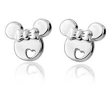 Polish 925 Sterling Silver Disney Mickey Mouse Heart Stud Earrings Gift Box PE25