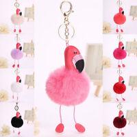FP- PW_ Fluffy Plush Flamingo Pendant Clasp Keychain Key Ring Chain Handbag Car