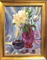 Still Life Floral  Original Oil Painting Impressionism Art by Emiliya Lane