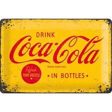 Targa in Latta Vintage Coca-Cola - Logo Yellow 20 x 30 in metallo