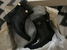 "BNIB "" BURBERRY "" BLACK WITH BOW WESTCOTT ANKLE RUBBER RAIN BOOTS - UK 5 !"