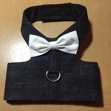 Black With White Bow tie Handmade Dog Harness Tux Wedding XXS (1285)