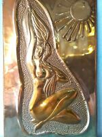 Vintage repousse hammered bas relief plaque Copper Embossed Beautiful nude Girl