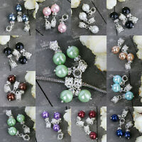 5x Crystal Faux Pearl Ball Dangle European Charms Spacer Beads Fit Snake Chain