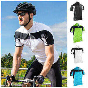 Mens Short Sleeve Cycling Jersey Top Full Zip Breathable Lightweight Jacket S-2X