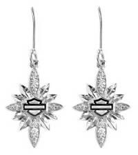 Harley-Davidson Womens Starburst Encrusted Bling Dangle Earrings, Silver HDE0452