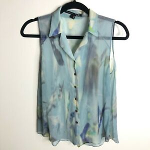 THEYSKENS' THEORY PRINTED SILK SLEEVELESS BUTTON DOWN TOP BLOUSE SIZE SMALL