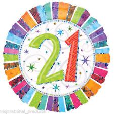 "Anagram Prismatic HAPPY 21st BIRTHDAY 21 Today Round Foil Helium Balloon 18"""