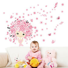 Pink Flower Fairy Baby Girl & Butterfly Wall Sticker Princess Nursery Room Decor