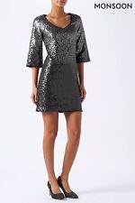 Monsoon Silver Obelia Ombre Sequin Dress 12 UK CS172 GG 03
