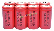 8x D size 1.2V 11000mAh Ni-MH Red Color Rechargeable Battery USA