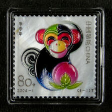 China New Year Stamp Made by Real Shell Carving, 2004 Monkey Year