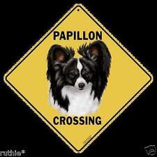 "Papillon Dog Metal Crossing Sign 16 1/2"" x 16 1/2"" (Hanging) Diamond shape"