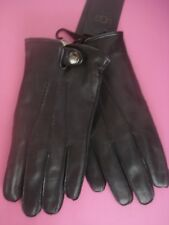 MENS UGG LEATHER GLOVES BLACK TAILORED FRONT SNAP CLOSURE MEDIUM NEW
