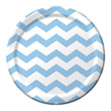 "8 Pastel Blue White Chevron ZigZag Birthday Party Large 9"" Paper Lunch Plates"